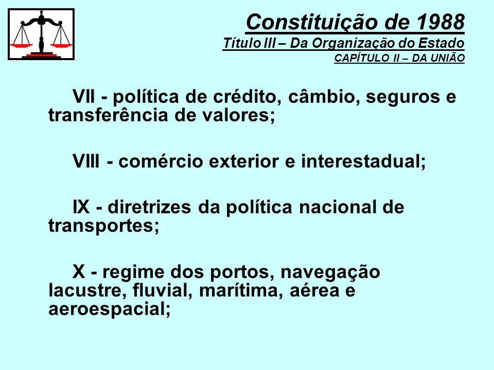 VII - política de crédito, câmbio, seguros e transferência de valores; VIII - comércio exterior e interestadual; IX - diretrizes da política nacional