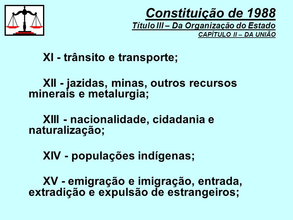 XI - trânsito e transporte; XII - jazidas, minas, outros recursos minerais e metalurgia; XIII - nacionalidade, cidadania e naturalização; XIV - popula
