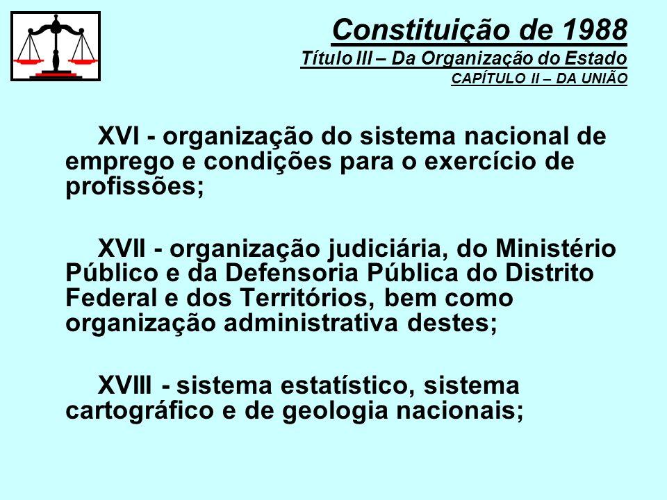 XVI - organização do sistema nacional de emprego e condições para o exercício de profissões; XVII - organização judiciária, do Ministério Público e da