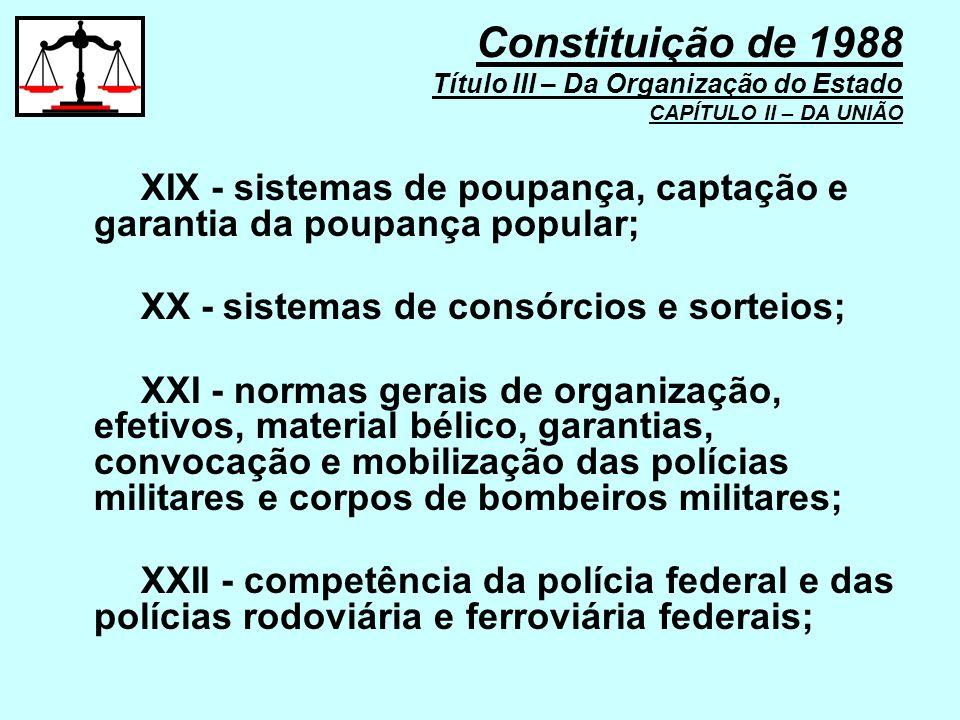 XIX - sistemas de poupança, captação e garantia da poupança popular; XX - sistemas de consórcios e sorteios; XXI - normas gerais de organização, efeti