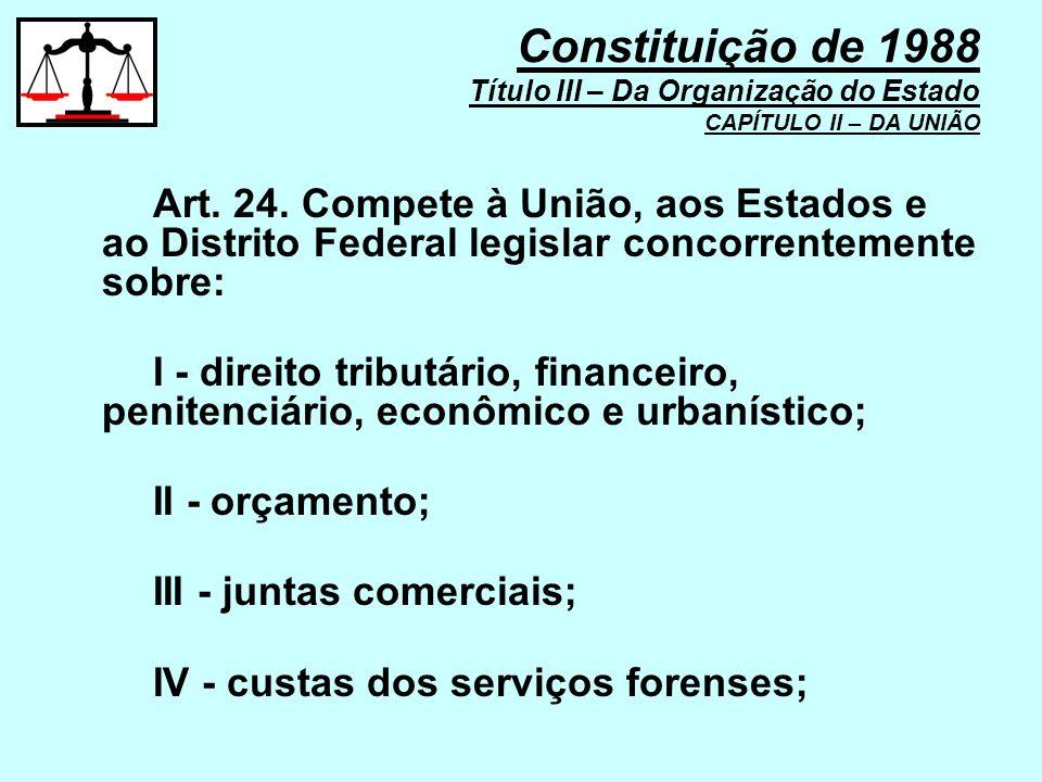 Art. 24. Compete à União, aos Estados e ao Distrito Federal legislar concorrentemente sobre: I - direito tributário, financeiro, penitenciário, econôm