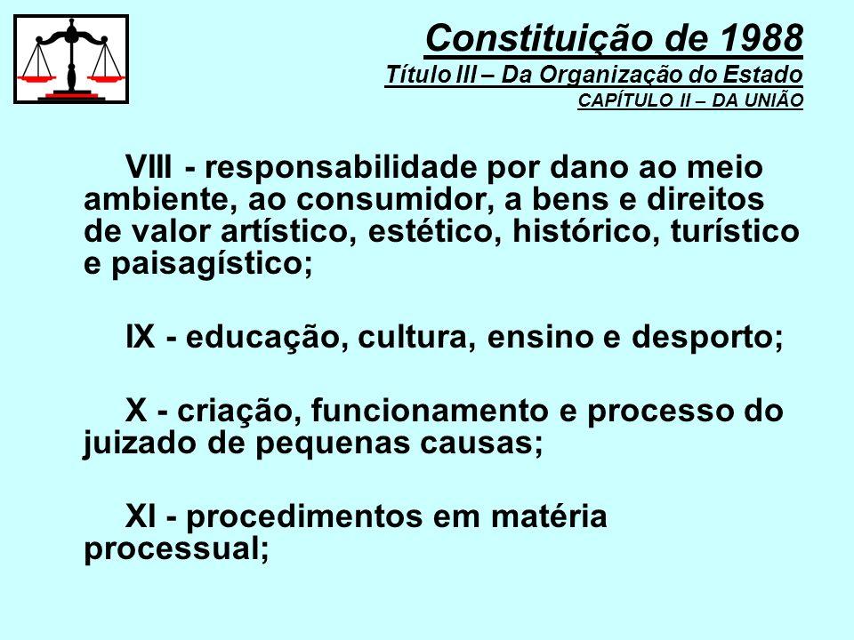VIII - responsabilidade por dano ao meio ambiente, ao consumidor, a bens e direitos de valor artístico, estético, histórico, turístico e paisagístico;