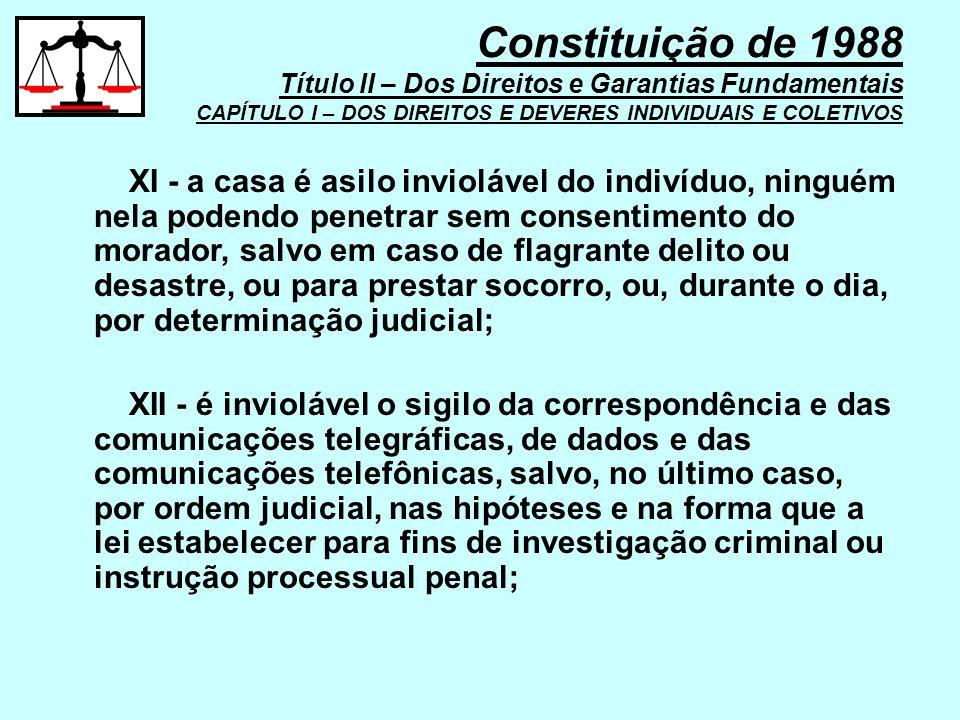XI - a casa é asilo inviolável do indivíduo, ninguém nela podendo penetrar sem consentimento do morador, salvo em caso de flagrante delito ou desastre
