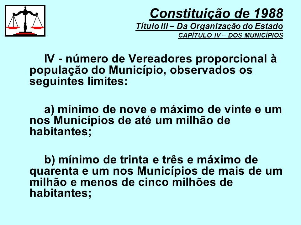 IV - número de Vereadores proporcional à população do Município, observados os seguintes limites: a) mínimo de nove e máximo de vinte e um nos Municíp