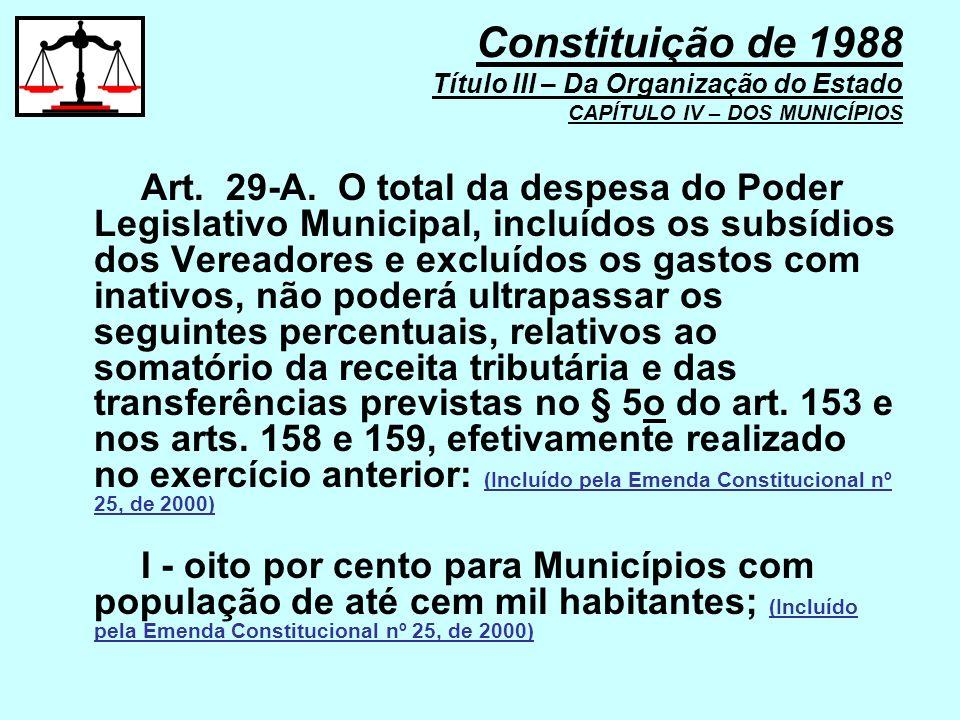 Art. 29-A. O total da despesa do Poder Legislativo Municipal, incluídos os subsídios dos Vereadores e excluídos os gastos com inativos, não poderá ult