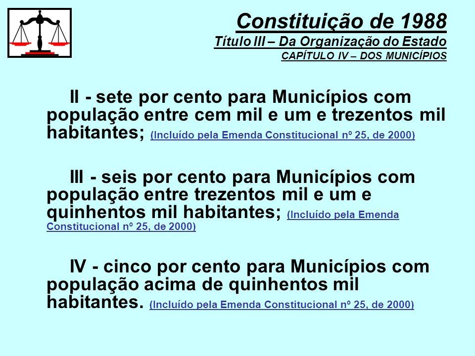 II - sete por cento para Municípios com população entre cem mil e um e trezentos mil habitantes; (Incluído pela Emenda Constitucional nº 25, de 2000)