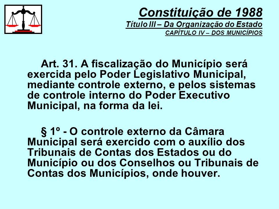 Art. 31. A fiscalização do Município será exercida pelo Poder Legislativo Municipal, mediante controle externo, e pelos sistemas de controle interno d