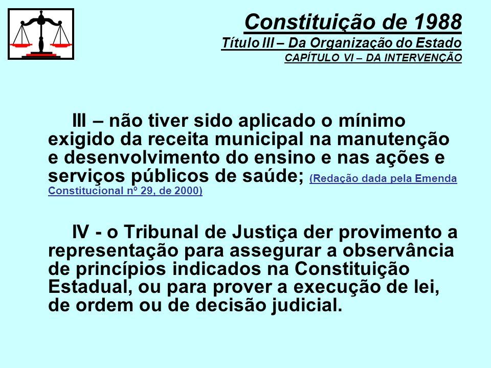 III – não tiver sido aplicado o mínimo exigido da receita municipal na manutenção e desenvolvimento do ensino e nas ações e serviços públicos de saúde