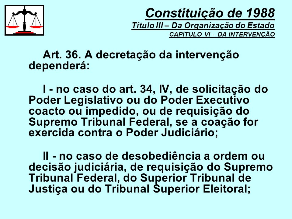 Art. 36. A decretação da intervenção dependerá: I - no caso do art. 34, IV, de solicitação do Poder Legislativo ou do Poder Executivo coacto ou impedi