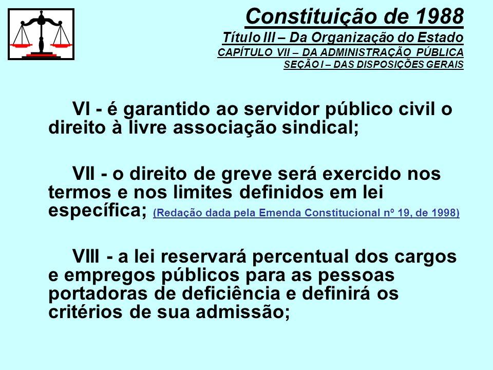 VI - é garantido ao servidor público civil o direito à livre associação sindical; VII - o direito de greve será exercido nos termos e nos limites defi