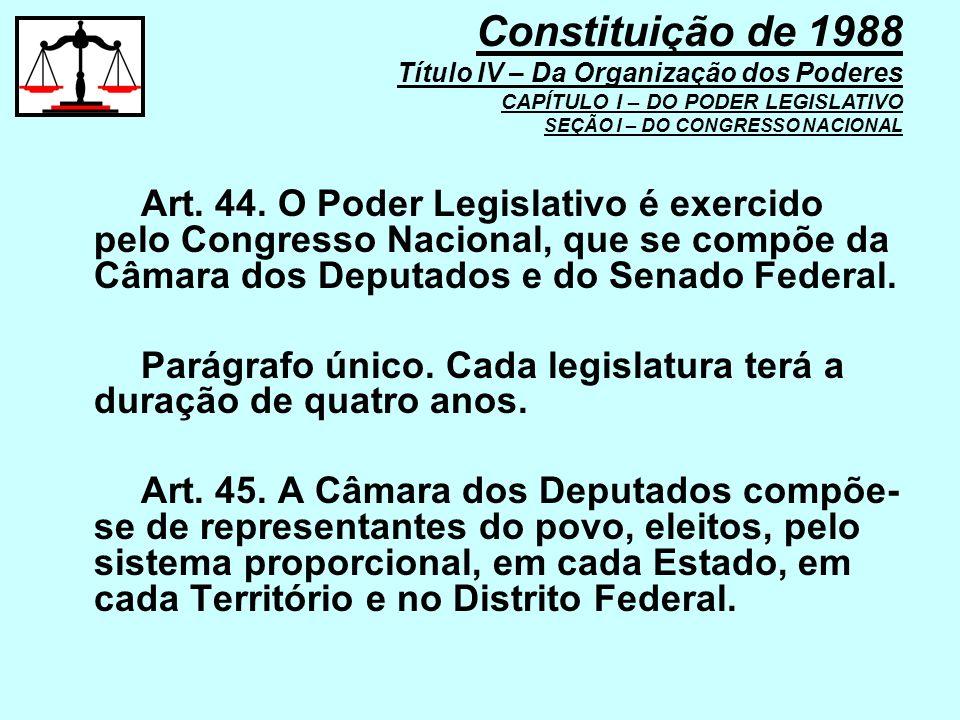 Art. 44. O Poder Legislativo é exercido pelo Congresso Nacional, que se compõe da Câmara dos Deputados e do Senado Federal. Parágrafo único. Cada legi