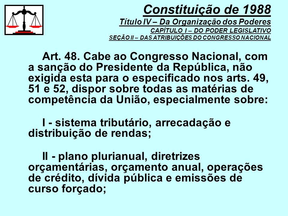 Art. 48. Cabe ao Congresso Nacional, com a sanção do Presidente da República, não exigida esta para o especificado nos arts. 49, 51 e 52, dispor sobre