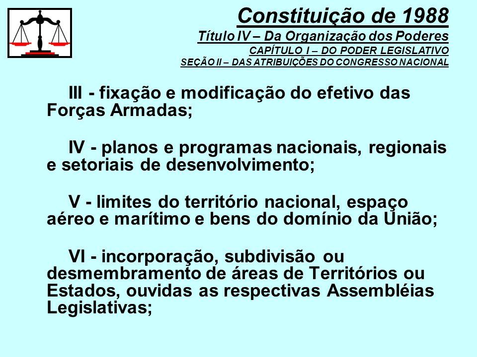 III - fixação e modificação do efetivo das Forças Armadas; IV - planos e programas nacionais, regionais e setoriais de desenvolvimento; V - limites do