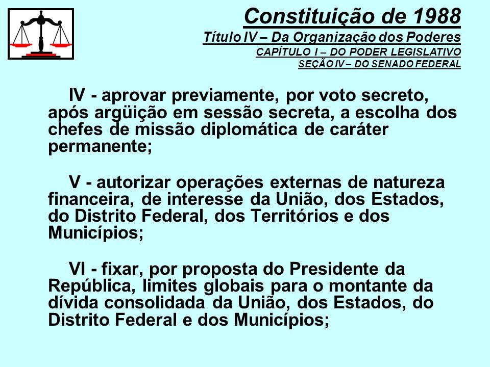 IV - aprovar previamente, por voto secreto, após argüição em sessão secreta, a escolha dos chefes de missão diplomática de caráter permanente; V - aut