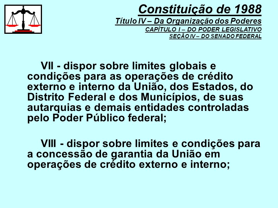VII - dispor sobre limites globais e condições para as operações de crédito externo e interno da União, dos Estados, do Distrito Federal e dos Municíp