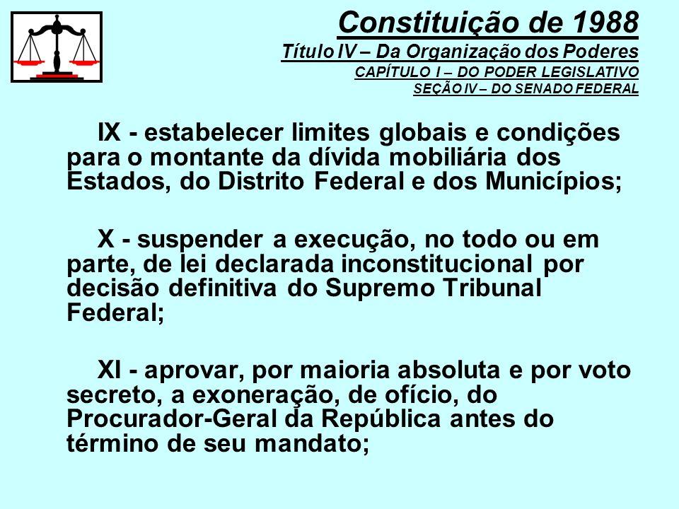 IX - estabelecer limites globais e condições para o montante da dívida mobiliária dos Estados, do Distrito Federal e dos Municípios; X - suspender a e
