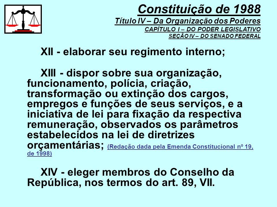 XII - elaborar seu regimento interno; XIII - dispor sobre sua organização, funcionamento, polícia, criação, transformação ou extinção dos cargos, empr