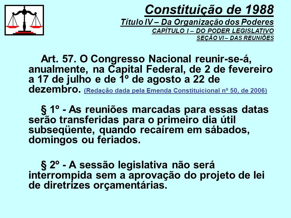 Art. 57. O Congresso Nacional reunir-se-á, anualmente, na Capital Federal, de 2 de fevereiro a 17 de julho e de 1º de agosto a 22 de dezembro. (Redaçã