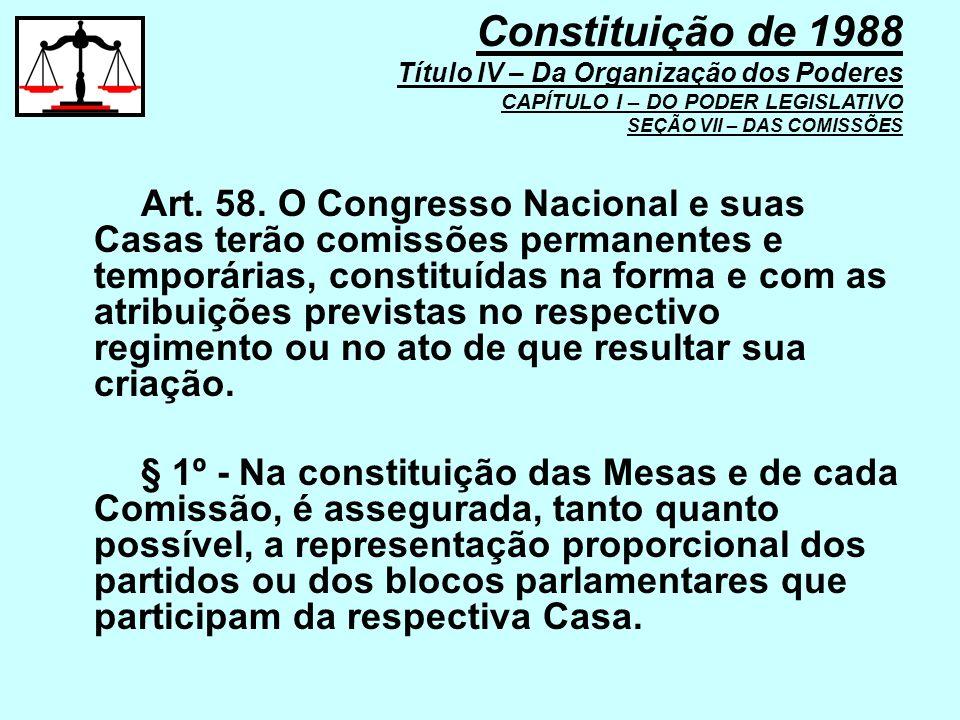 Art. 58. O Congresso Nacional e suas Casas terão comissões permanentes e temporárias, constituídas na forma e com as atribuições previstas no respecti
