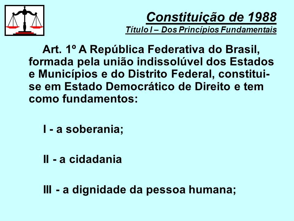 c) a navegação aérea, aeroespacial e a infra-estrutura aeroportuária; d) os serviços de transporte ferroviário e aquaviário entre portos brasileiros e fronteiras nacionais, ou que transponham os limites de Estado ou Território; e) os serviços de transporte rodoviário interestadual e internacional de passageiros; f) os portos marítimos, fluviais e lacustres; Constituição de 1988 Título III – Da Organização do Estado CAPÍTULO II – DA UNIÃO