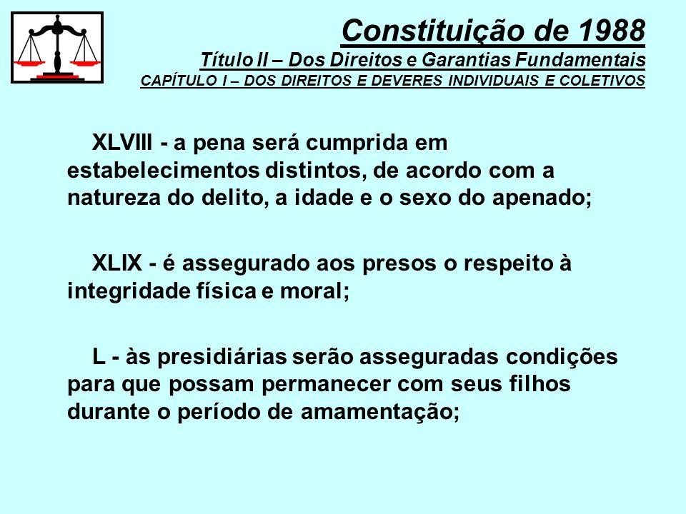 XLVIII - a pena será cumprida em estabelecimentos distintos, de acordo com a natureza do delito, a idade e o sexo do apenado; XLIX - é assegurado aos