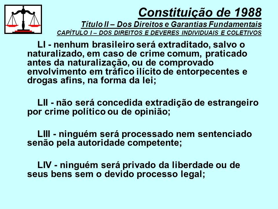 LI - nenhum brasileiro será extraditado, salvo o naturalizado, em caso de crime comum, praticado antes da naturalização, ou de comprovado envolvimento