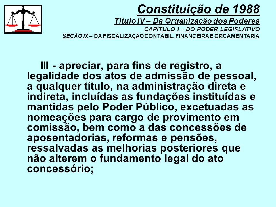 III - apreciar, para fins de registro, a legalidade dos atos de admissão de pessoal, a qualquer título, na administração direta e indireta, incluídas