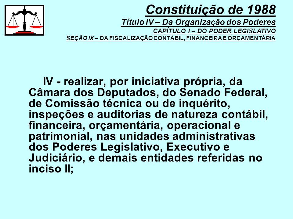 IV - realizar, por iniciativa própria, da Câmara dos Deputados, do Senado Federal, de Comissão técnica ou de inquérito, inspeções e auditorias de natu