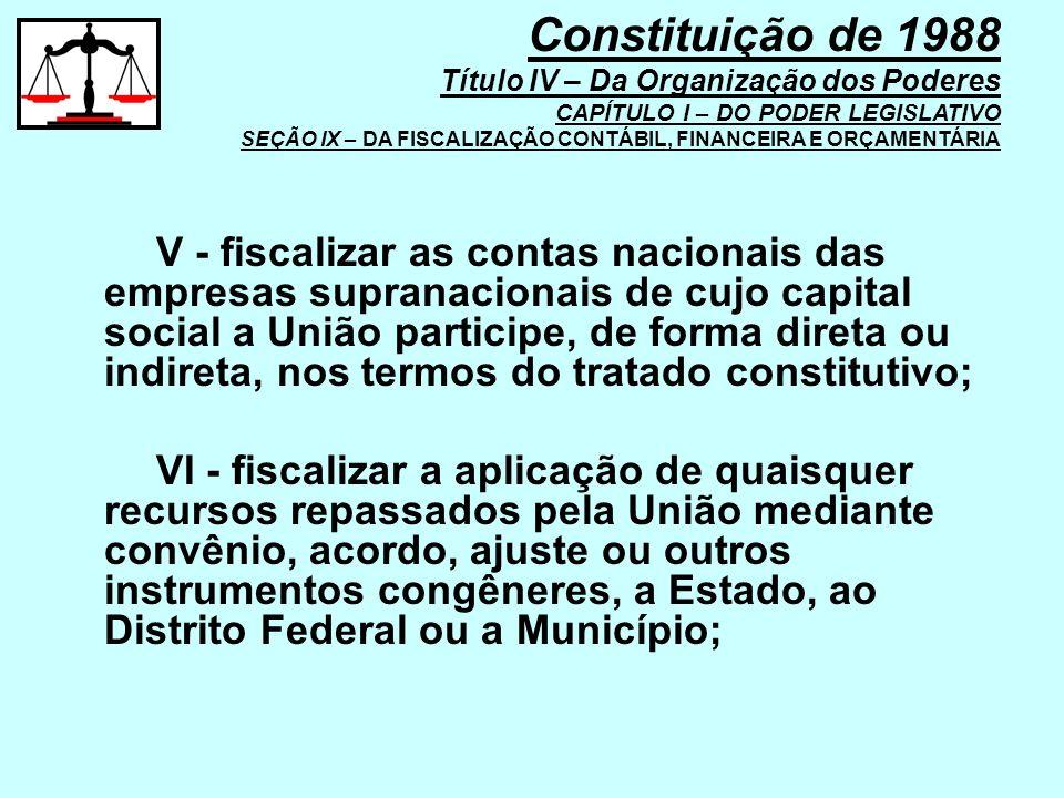 V - fiscalizar as contas nacionais das empresas supranacionais de cujo capital social a União participe, de forma direta ou indireta, nos termos do tr