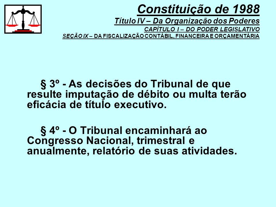 § 3º - As decisões do Tribunal de que resulte imputação de débito ou multa terão eficácia de título executivo. § 4º - O Tribunal encaminhará ao Congre