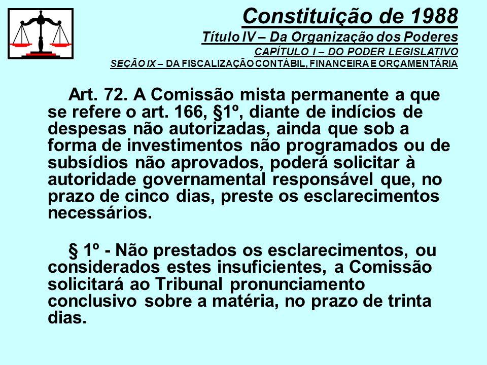Art. 72. A Comissão mista permanente a que se refere o art. 166, §1º, diante de indícios de despesas não autorizadas, ainda que sob a forma de investi