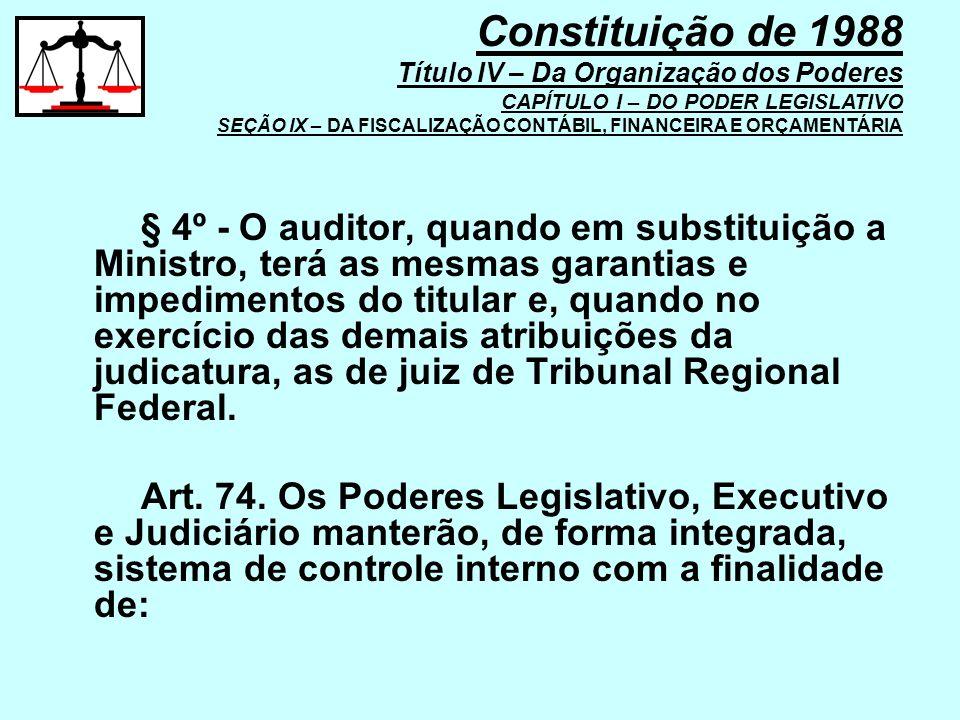 § 4º - O auditor, quando em substituição a Ministro, terá as mesmas garantias e impedimentos do titular e, quando no exercício das demais atribuições