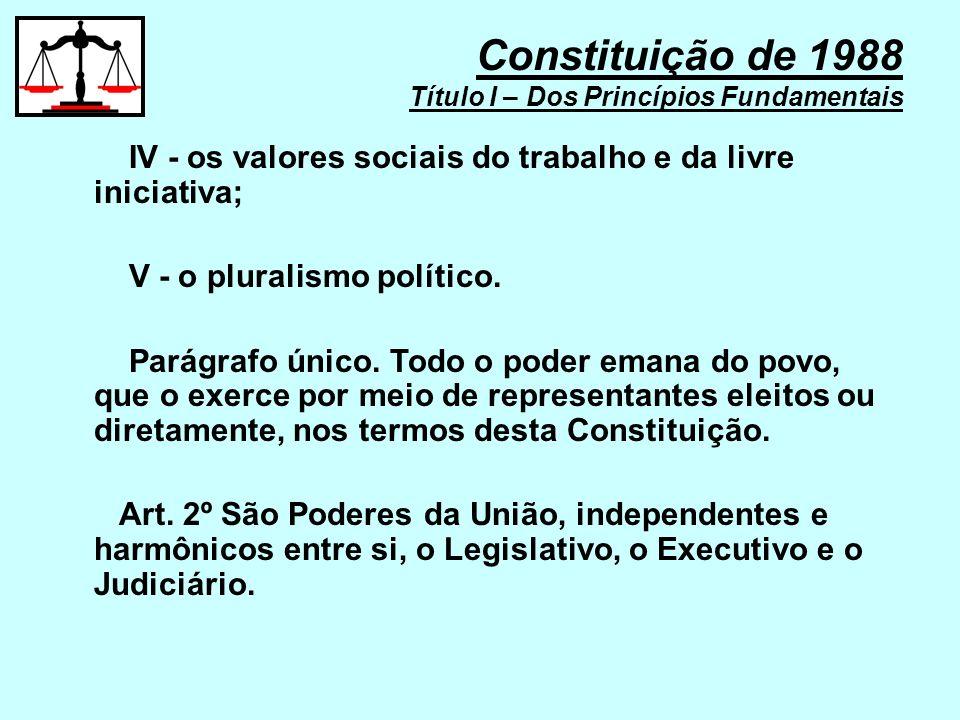 IV - os valores sociais do trabalho e da livre iniciativa; V - o pluralismo político. Parágrafo único. Todo o poder emana do povo, que o exerce por me