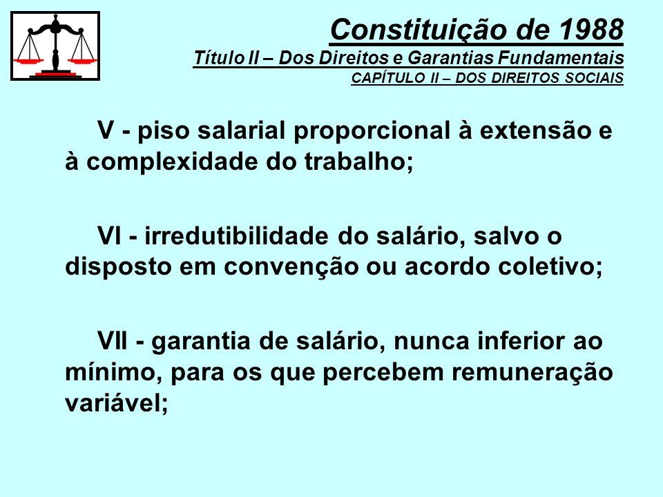 V - piso salarial proporcional à extensão e à complexidade do trabalho; VI - irredutibilidade do salário, salvo o disposto em convenção ou acordo cole