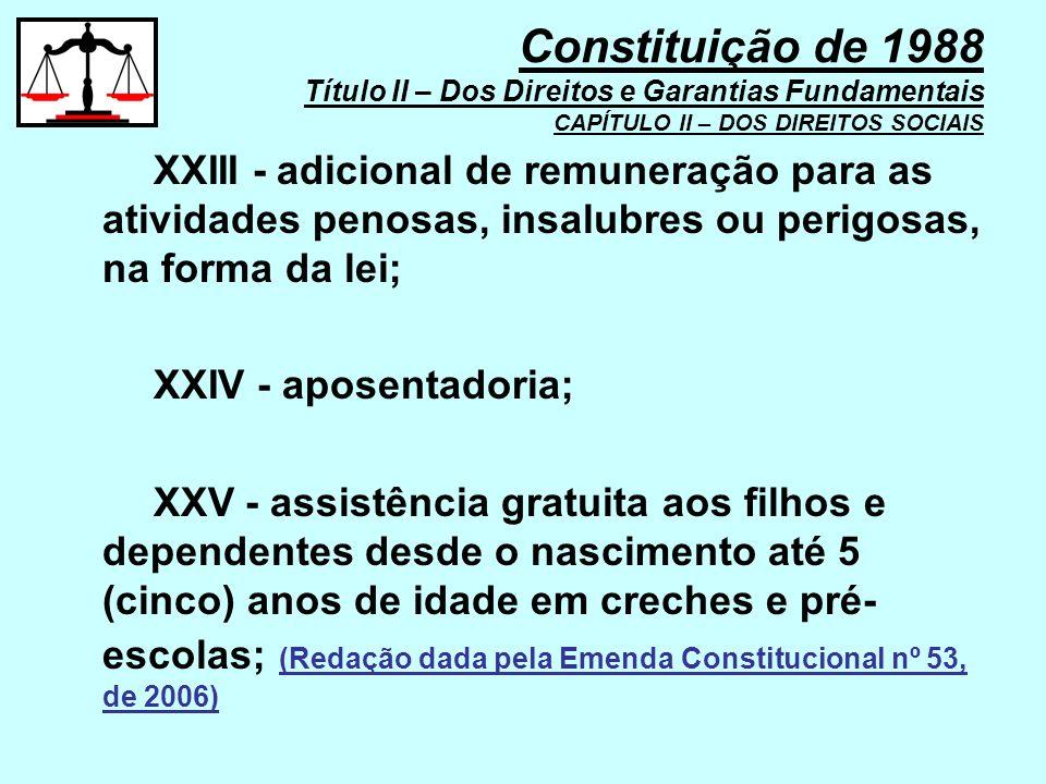 XXIII - adicional de remuneração para as atividades penosas, insalubres ou perigosas, na forma da lei; XXIV - aposentadoria; XXV - assistência gratuit