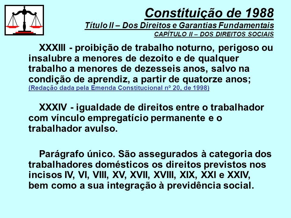 XXXIII - proibição de trabalho noturno, perigoso ou insalubre a menores de dezoito e de qualquer trabalho a menores de dezesseis anos, salvo na condiç