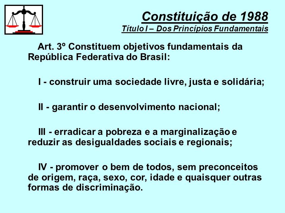 IV - não-intervenção; V - igualdade entre os Estados; VI - defesa da paz; VII - solução pacífica dos conflitos; VIII - repúdio ao terrorismo e ao racismo; Constituição de 1988 Título I – Dos Princípios Fundamentais