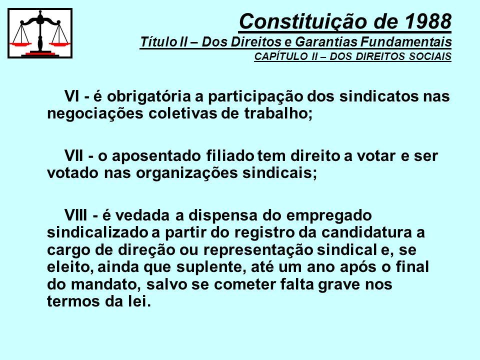 VI - é obrigatória a participação dos sindicatos nas negociações coletivas de trabalho; VII - o aposentado filiado tem direito a votar e ser votado na