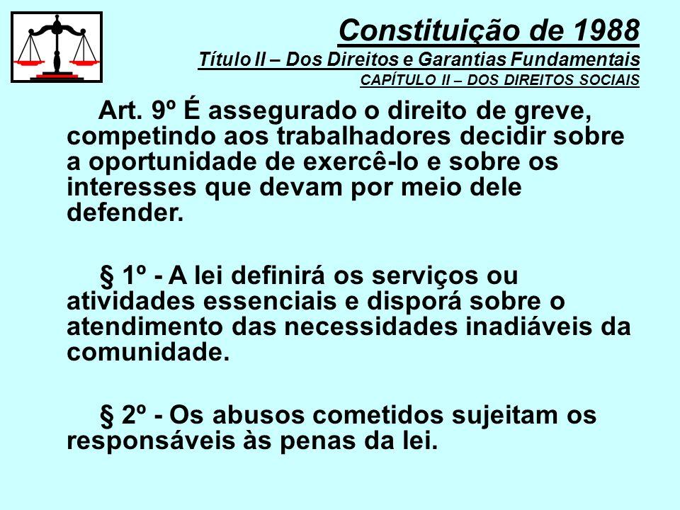 Art. 9º É assegurado o direito de greve, competindo aos trabalhadores decidir sobre a oportunidade de exercê-lo e sobre os interesses que devam por me