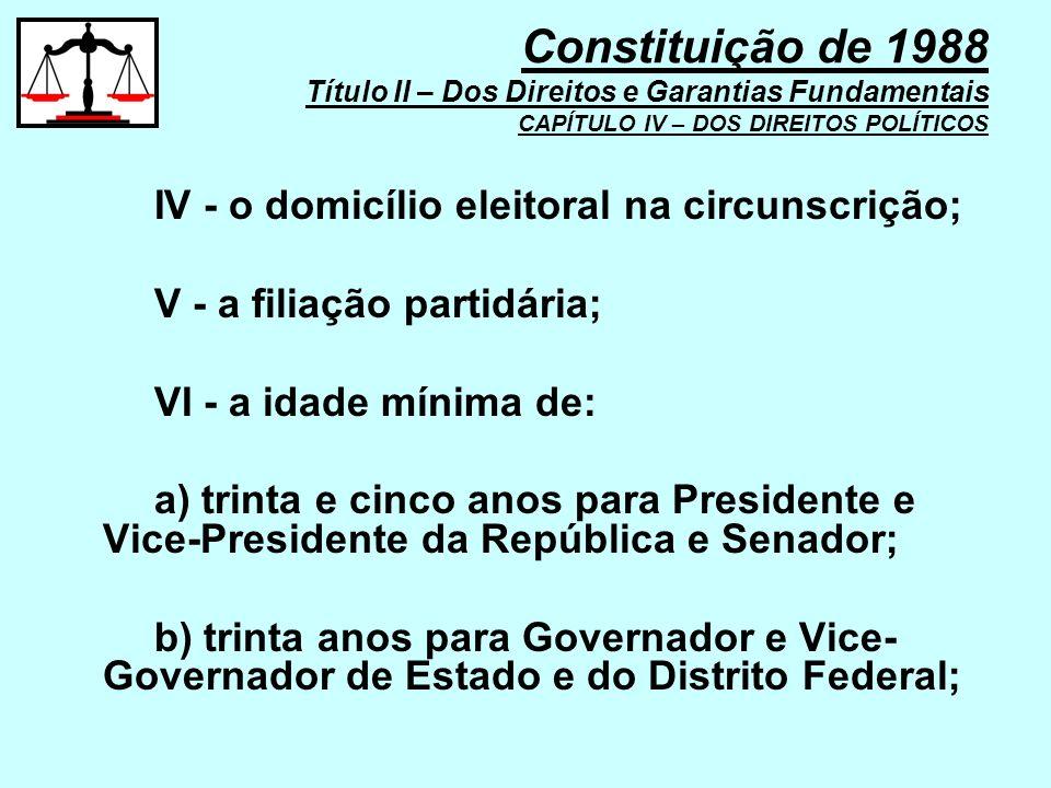 IV - o domicílio eleitoral na circunscrição; V - a filiação partidária; VI - a idade mínima de: a) trinta e cinco anos para Presidente e Vice-Presiden