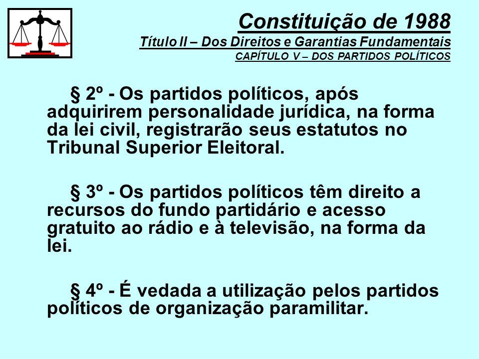 § 2º - Os partidos políticos, após adquirirem personalidade jurídica, na forma da lei civil, registrarão seus estatutos no Tribunal Superior Eleitoral
