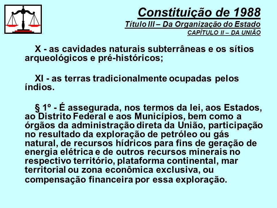X - as cavidades naturais subterrâneas e os sítios arqueológicos e pré-históricos; XI - as terras tradicionalmente ocupadas pelos índios. § 1º - É ass