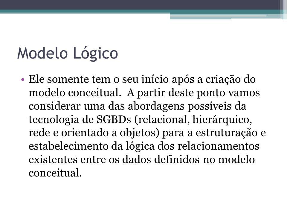 Modelo Lógico Ele somente tem o seu início após a criação do modelo conceitual. A partir deste ponto vamos considerar uma das abordagens possíveis da