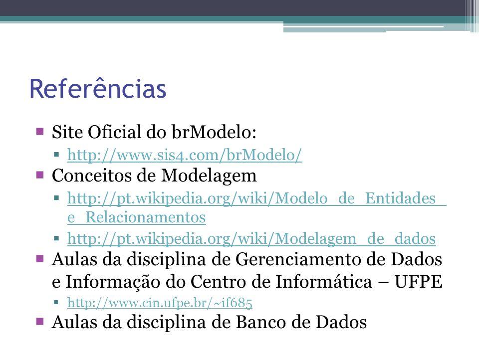 Referências Site Oficial do brModelo: http://www.sis4.com/brModelo/ Conceitos de Modelagem http://pt.wikipedia.org/wiki/Modelo_de_Entidades_ e_Relacio