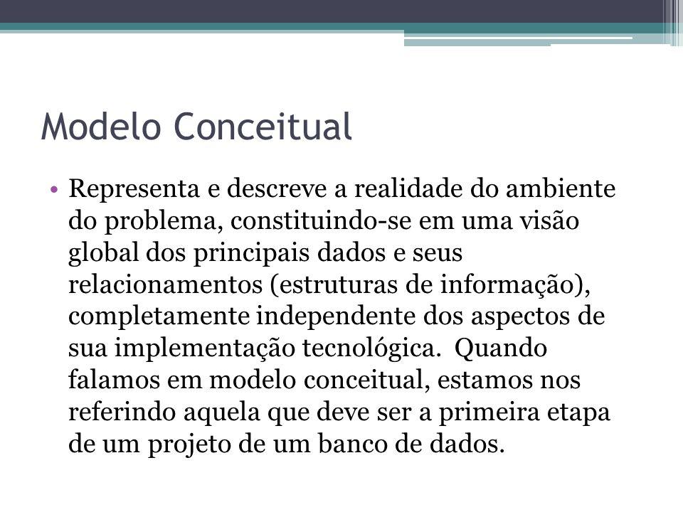 Modelo Conceitual Representa e descreve a realidade do ambiente do problema, constituindo-se em uma visão global dos principais dados e seus relaciona