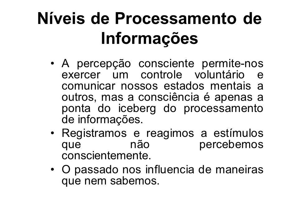 Níveis de Processamento de Informações A percepção consciente permite-nos exercer um controle voluntário e comunicar nossos estados mentais a outros, mas a consciência é apenas a ponta do iceberg do processamento de informações.