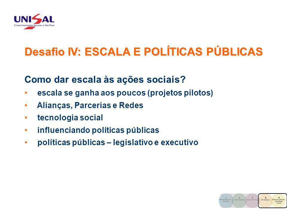 Como dar escala às ações sociais? escala se ganha aos poucos (projetos pilotos) Alianças, Parcerias e Redes tecnologia social influenciando políticas