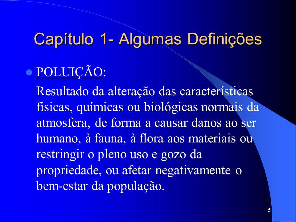 5 POLUIÇÃO: Resultado da alteração das características físicas, químicas ou biológicas normais da atmosfera, de forma a causar danos ao ser humano, à