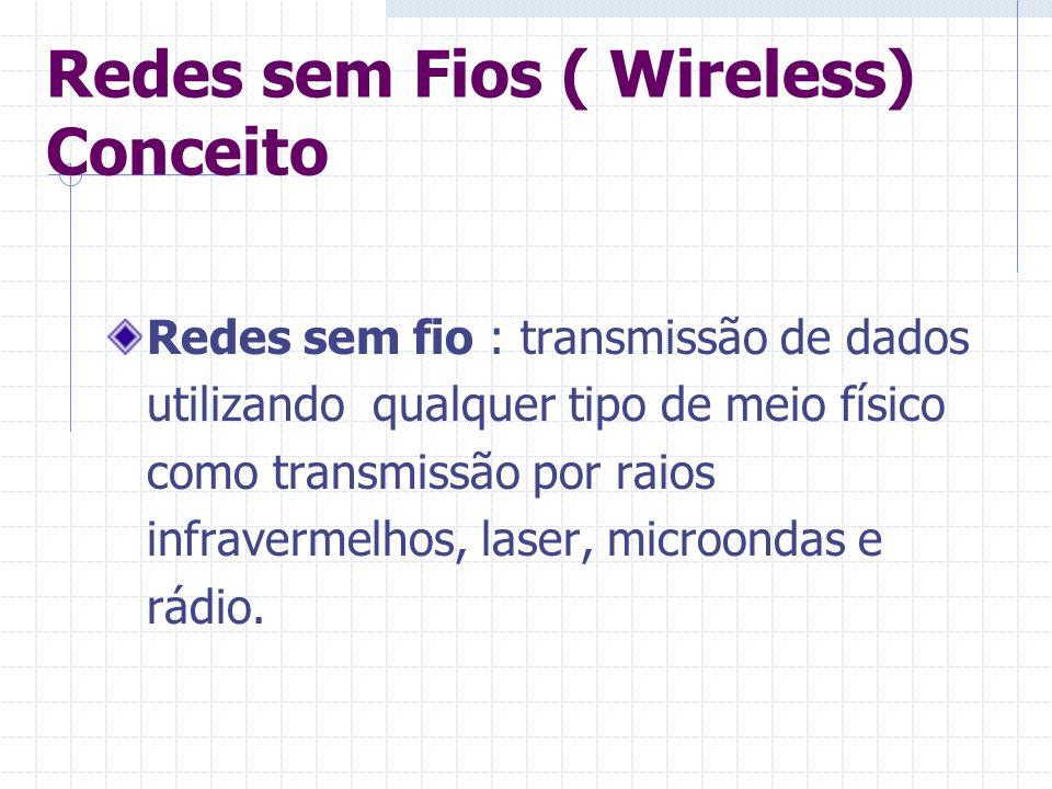 Redes sem Fios ( Wireless) Conceito Redes sem fio : transmissão de dados utilizando qualquer tipo de meio físico como transmissão por raios infraverme