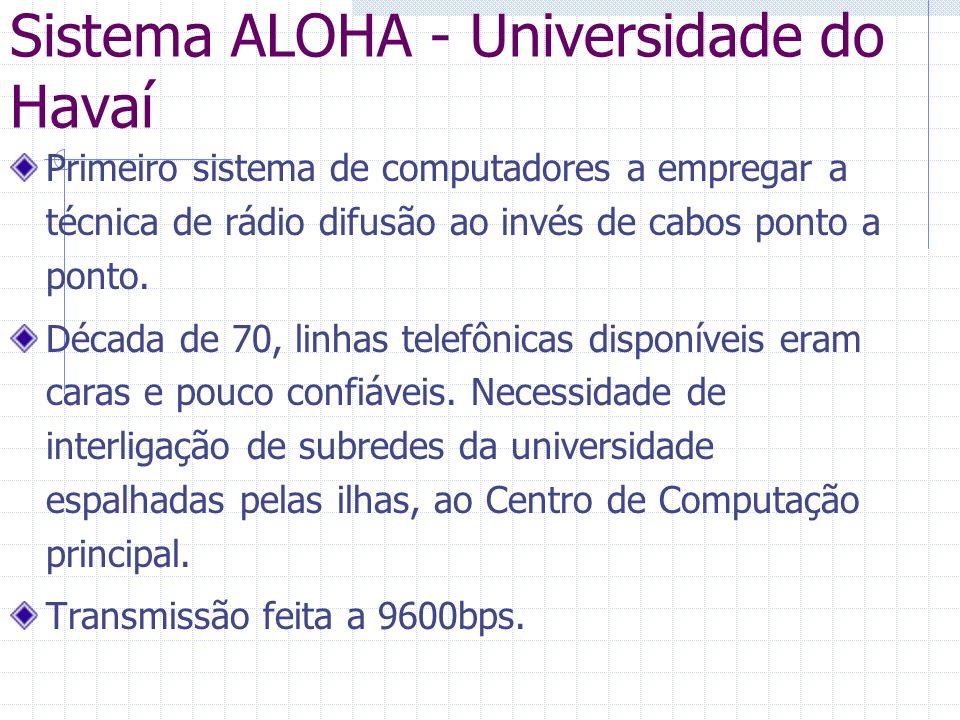 Sistema ALOHA - Universidade do Havaí Primeiro sistema de computadores a empregar a técnica de rádio difusão ao invés de cabos ponto a ponto. Década d